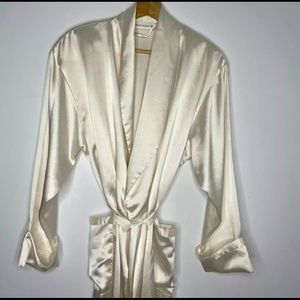 Vintage Victoria Secret Ivory Satin Long Robe